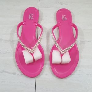 Pink Rhinestone Bling Jelly Sandals size 10
